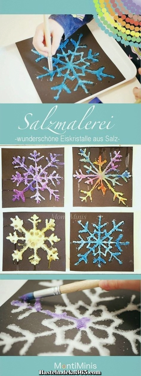 salzfarbe  bunte eiskristalle aus salz  basteln mit kids