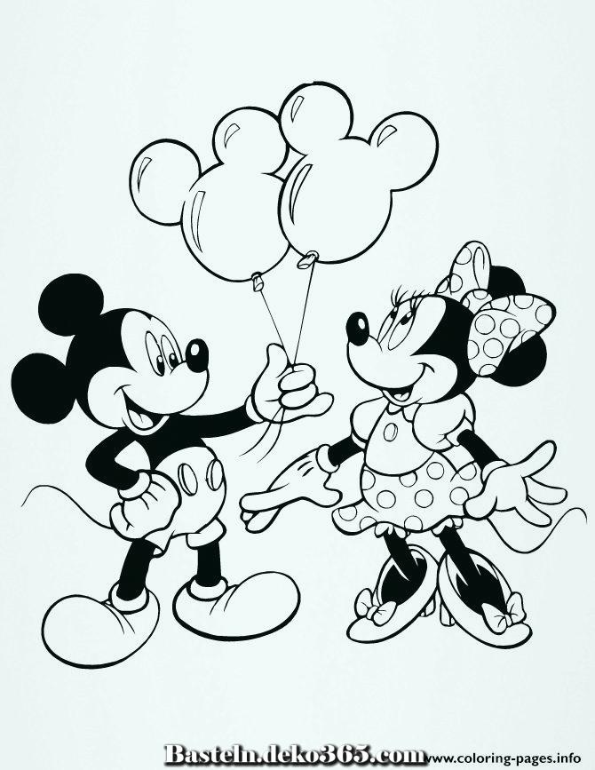 ausmalbilder mickey mit minnie mouse balloons disney