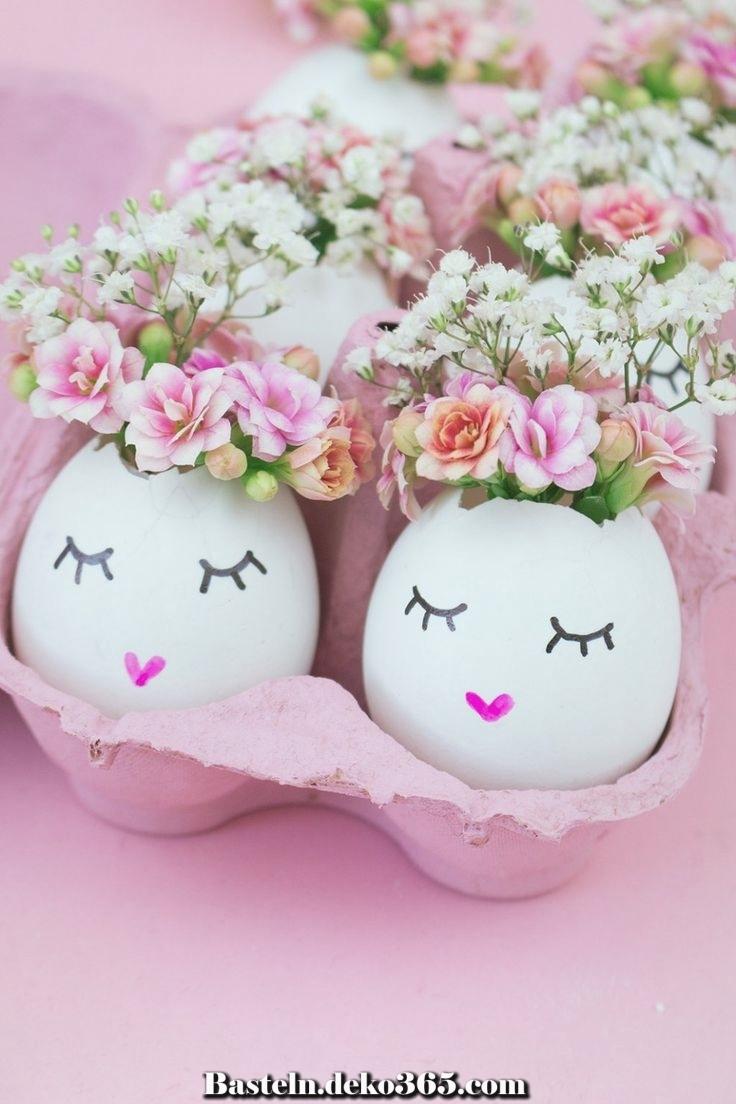 diy ostern dekoration hübsche eierschalenvasen  basteln
