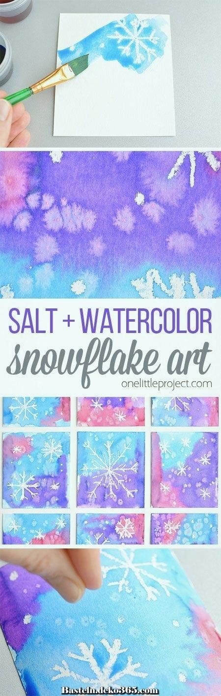 magische salz und aquarellschneeflockenkunst  basteln