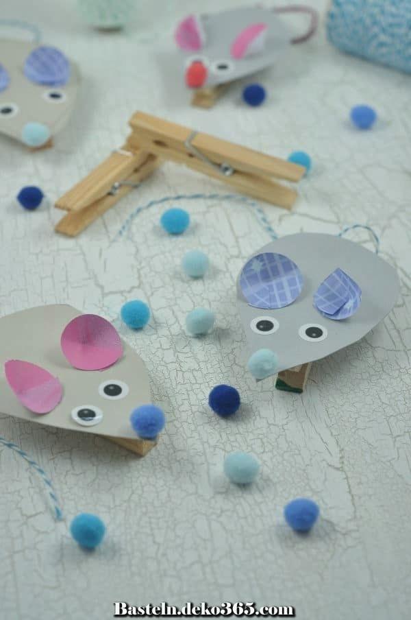 Süße Klauenmäuse Pfriemeln Mit Holzklammern Basteln Mit Kids